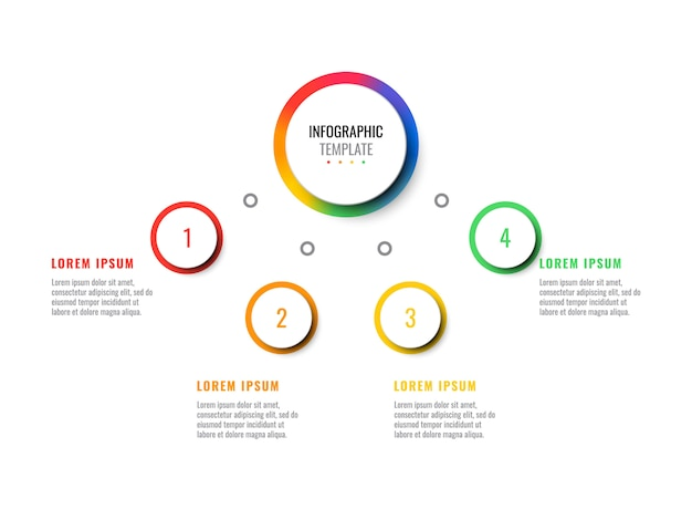 Affari 3d realistica infografica con quattro passaggi. modello moderno infografica con elementi rotondi per brochure, diagramma, flusso di lavoro, sequenza temporale, web design. eps10