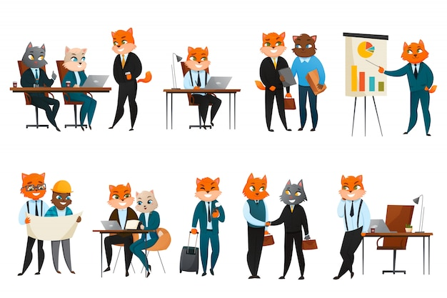 Affari cat cartoon icons set