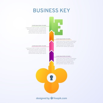 Affari chiave disegnata a mano con design infografico