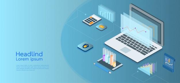 Affari di concetto isometrico di design moderno. computer, laptop, smartphone