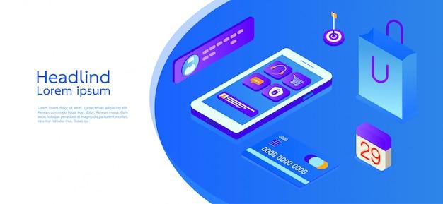 Affari di concetto isometrico di design moderno. smartphone