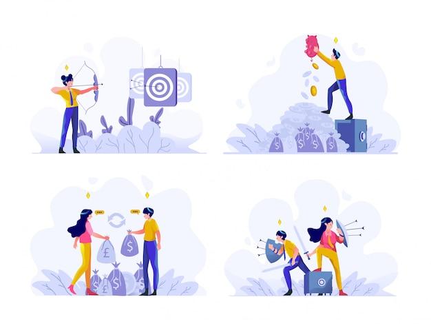 Affari e finanza illustrazione design piatto gradiente stile, obiettivi target, risparmio di denaro, cambio dollaro in euro, protezione scudo
