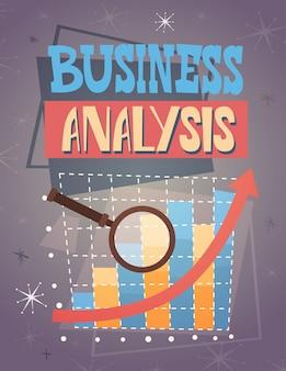 Affari finanziari del grafico di finanza di analisi della lente d'ingrandimento