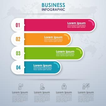 Affari infografica moderna con quattro opzioni