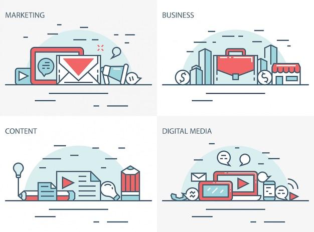 Affari, marketing, contenuti digitali e media