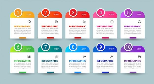 Affari moderni infographic 10 passi