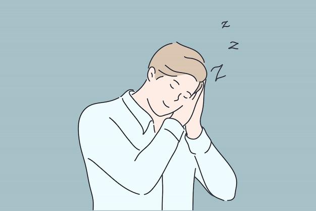 Affari, sonno, affaticamento, concetto di insonnia