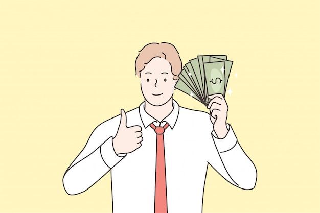 Affari, successo, raggiungimento degli obiettivi, ricchezza, concetto di denaro