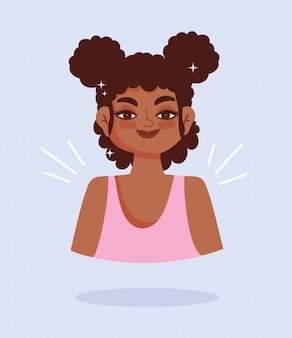 African american giovane donna ritratto personaggio dei fumetti illustrazione vettoriale