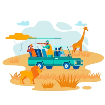 African safari hunting flat vector illustration