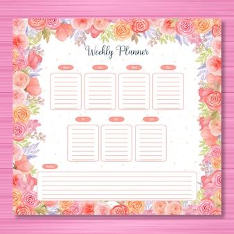Agenda settimanale colorata con tema floreale ad acquerello