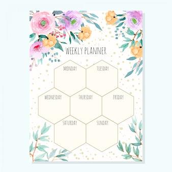 Agenda settimanale con foglie verdi floreali dell'acquerello