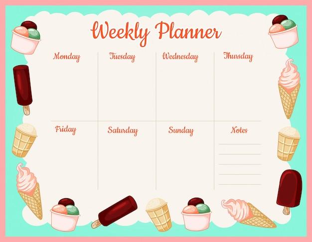 Agenda settimanale estiva con gelati