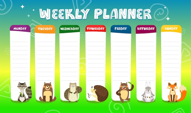 Agenda settimanale per bambini con simpatici personaggi di animali dei cartoni animati. programma per la scuola elementare. modello struttura bambini timeline.