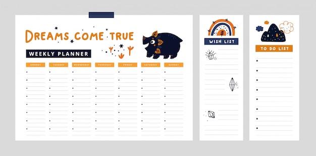 Agenda settimanale, wish list, per fare la lista con simpatici dinosauri e arcobaleno e elementi disegnati a mano