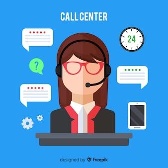 Agente di call center femminile