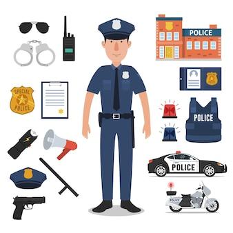 Agente di polizia con attrezzature professionali di polizia
