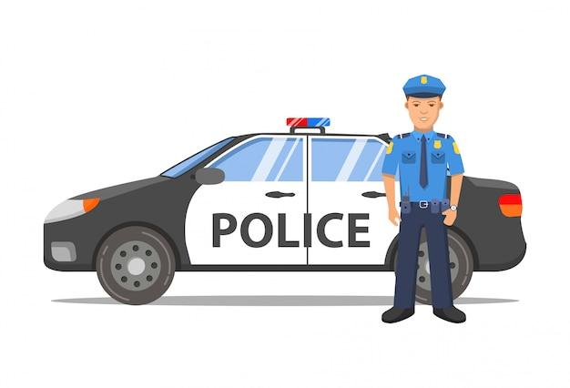 Agente di polizia e auto
