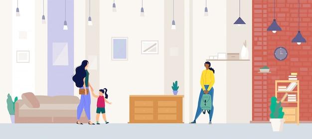 Agente immobiliare che mostra appartamento al vettore piano del compratore