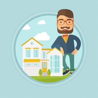 Agente immobiliare che offre casa