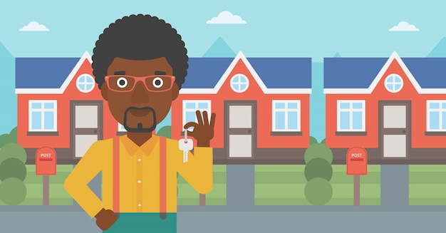 Agente immobiliare con illustrazione vettoriale chiave.