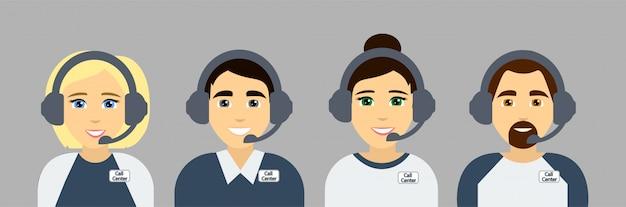 Agenti del call center. assistenti del servizio di assistenza clienti online. avatar piatti. illustrazione.