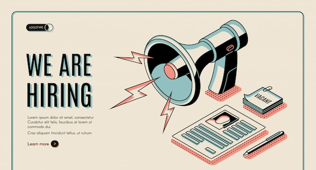 Agenzia di noleggio, offerte di lavoro cerca servizio online banner web isometrico, modello di pagina di destinazione