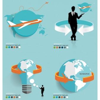 Agenzia di viaggi piatto infografica