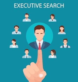 Agenzie di reclutamento di ricerca esecutiva di banner piatto.