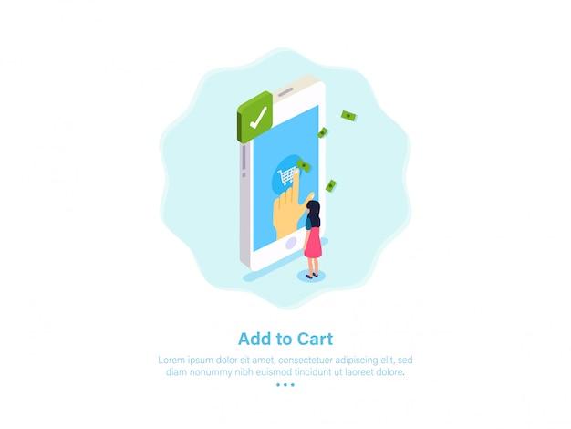 Aggiungi al carrello illustrazione shopping online