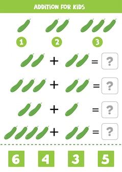 Aggiunta con cetriolo. risolvi l'equazione. gioco di matematica per bambini.