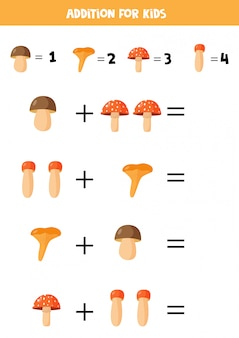 Aggiunta con diversi funghi. gioco di matematica per bambini.