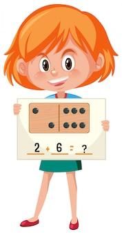 Aggiunta di numeri con studentessa