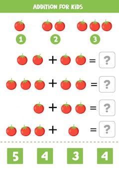Aggiunta per bambini con pomodori rossi simpatico cartone animato.