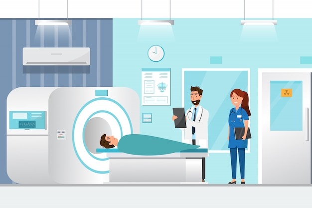Aggiusti la condizione e l'uomo che si trovano giù per i raggi x con la macchina dello scanner di mri