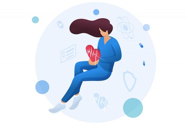 Aggiusti la donna che tiene un cuore pulsante che personifica la cura di circa la salute del paziente