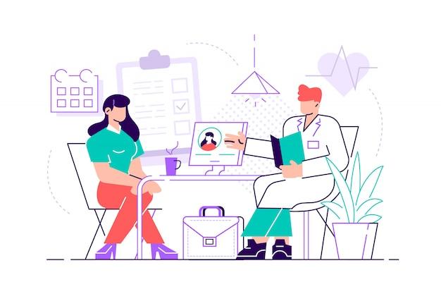 Aggiusti prendersi cura della salute del paziente per il concetto dell'esame medico, di controllo o di consultazione. illustrazione di medicina su sfondo isolato. illustrazione di stile moderno design piatto.