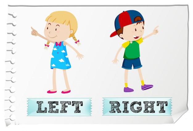 Agli aggettivi opposti a sinistra ea destra