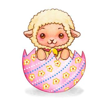 Agnello bianco dell'acquerello sveglio in un guscio decorato a metà uovo