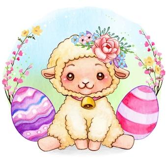 Agnello sveglio di pasqua dell'acquerello con i fiori e le uova decorate
