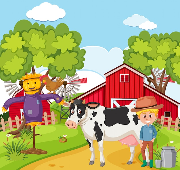 Agricoltore che munge la mucca