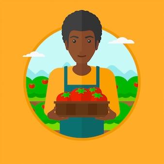 Agricoltore che raccoglie l'illustrazione di vettore dei pomodori.
