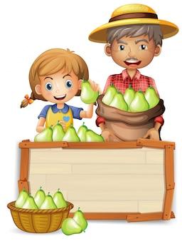 Agricoltore con pera su banner in legno