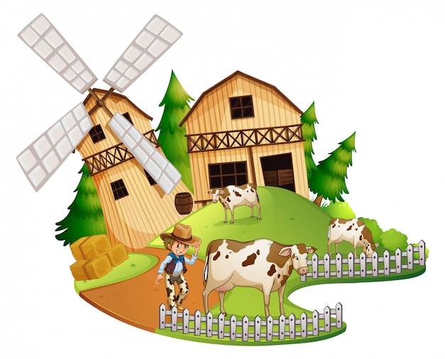 Agricoltore e mucche nella fattoria