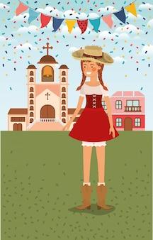 Agricoltore femminile che celebra con le ghirlande e il paesaggio urbano
