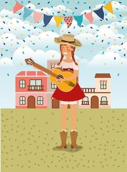 Agricoltore femminile che gioca chitarra con ghirlande e paesaggio urbano