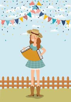 Agricoltore femminile che gioca fisarmonica con le ghirlande e la rete fissa