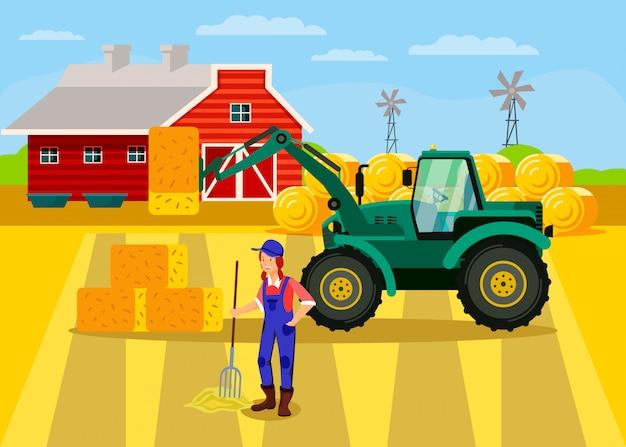 Agricoltore femminile che lavora con il personaggio di pitchfork