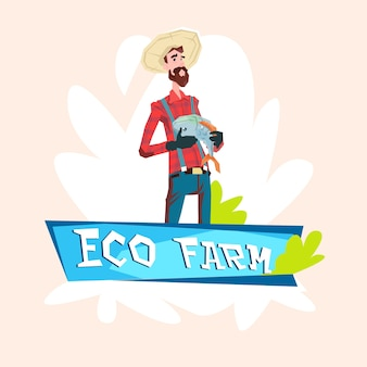 Agricoltore fishman hold fish eco farming logo concept