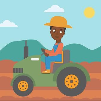 Agricoltore guida trattore